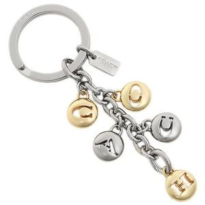 Coach Signature Gold/Silver Letters Keychain